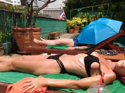 Two entirely different tanning methods. At The Royal Ivory, Nana, Bangkok