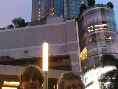 Janneke & her mom in Sukhumvit Bangkok with Terminal 21 in the background