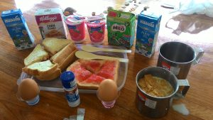 Thailand and Cambodia backpacking costs-Self improvised cost cutting breakfast in your own room